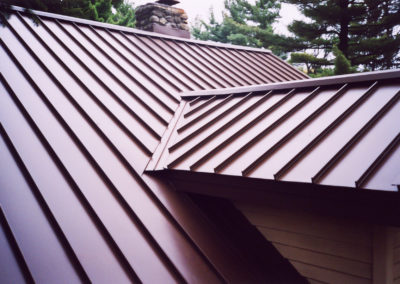 Close up Red Standing Seam Metal Roof Profile