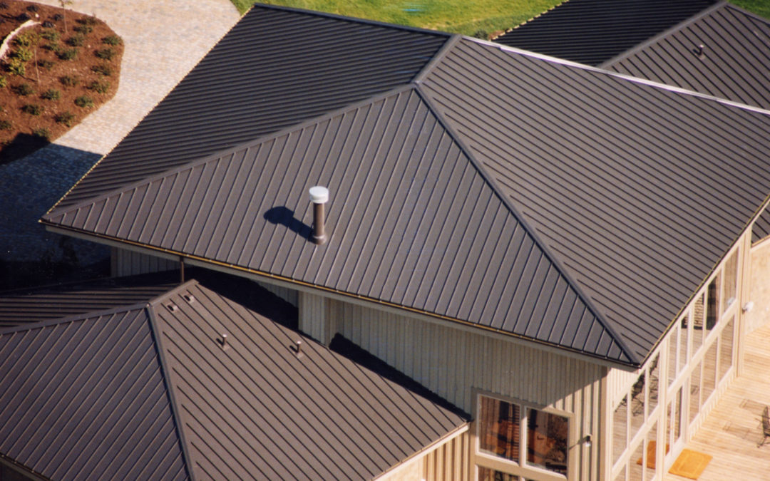 Gray Standing Seam Metal Roof Profile on modern style house in Portland, OR