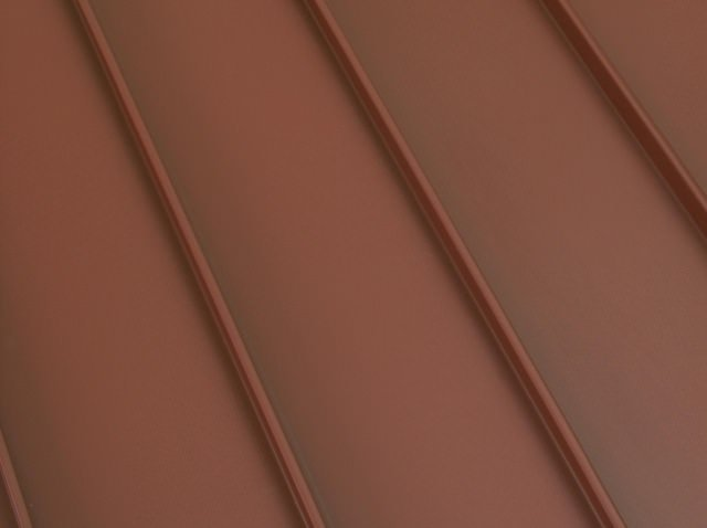 Standing seam metal roof terra red color option