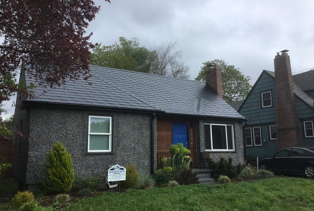 New aluminum roofing on a house