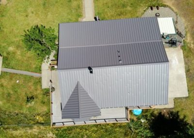 Top down view of standing seam metal roof