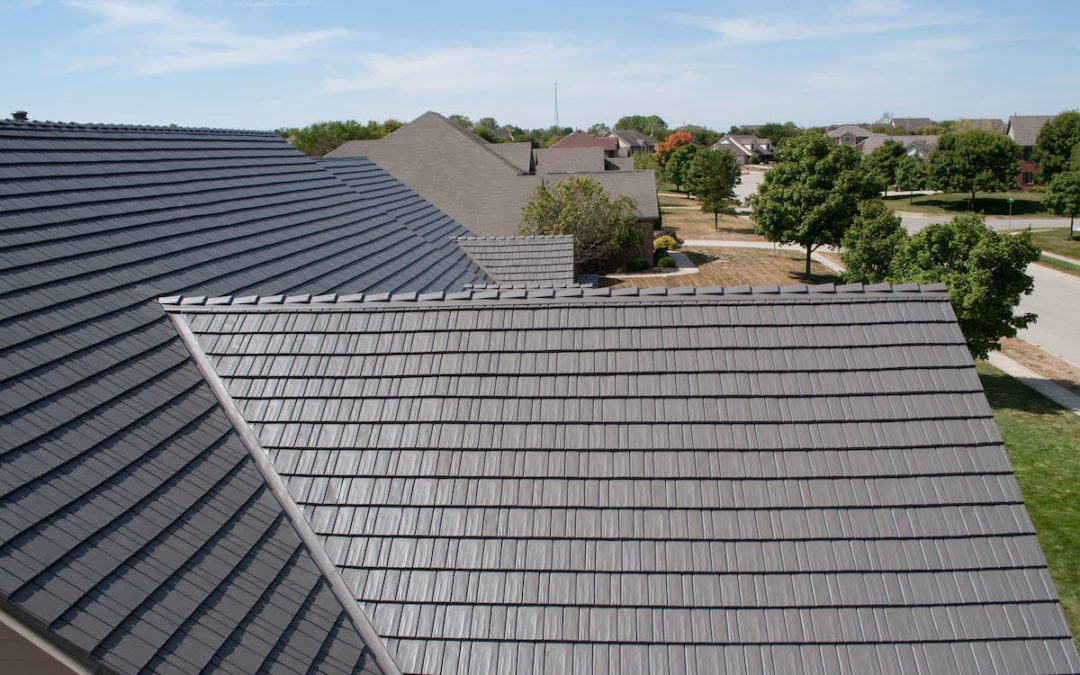 Close up of a metal roof pitch